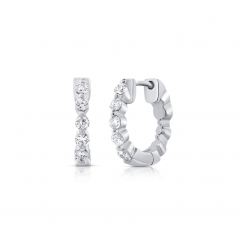 14k White Gold and .42CT Diamond Huggie Earrings