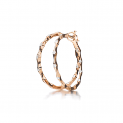 Wave 18k Rose Gold and Diamond In and Out Earrings