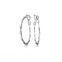 Wave 18k Gold and Diamond In and Out Hoop Earrings