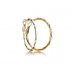 Wave 18k Yellow Gold and Diamond Hoop In and Out Earrings