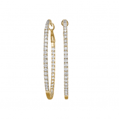 Classic Diamond and 18k Yellow Gold Hoops