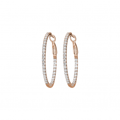 Classic Diamond and 18k Rose Gold Hoop Earrings