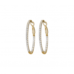 Classic Diamond and 18k Yellow Gold Hoop Earrings