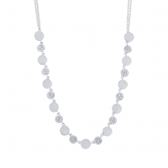 14k White Gold and Pave Diamond Disc Necklace