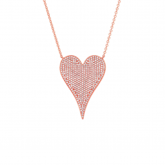 Classic 14k Rose Gold and Pave Diamond Pendant