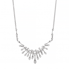 Wave 18k White Gold and .64TW Diamond Necklace
