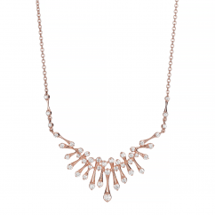Wave 18k Rose Gold and Diamond Necklace