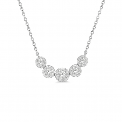 14k White Gold and .50CT Diamond Cluster Necklace