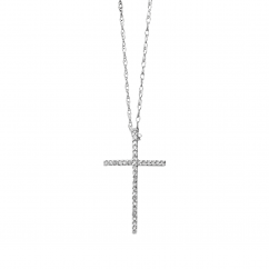 Classic 14k White Gold Diamond Cross Pendant