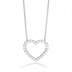 Classic 18k Gold and Diamond Heart Pendant