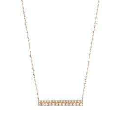 14k Yellow Gold and Diamond Bar Pendant