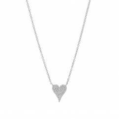 14k White Gold and .11 ct Diamond Heart Pendant