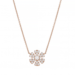 Fleur 18k Rose Gold and .43TW Diamond Pendant