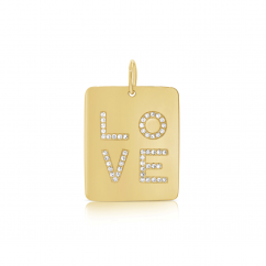 14k Yellow Gold and Diamond Love Charm