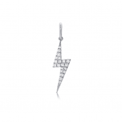 14k White Gold and Diamond Bolt Charm