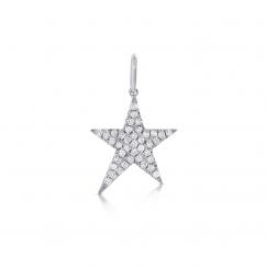 14k White Gold Shooting Star Diamond Charm