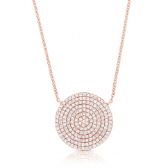 14k Rose Gold and Pave Diamond Disc Pendant