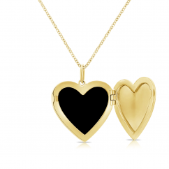 14k Yellow Gold and Black Onyx Heart Locket Necklace