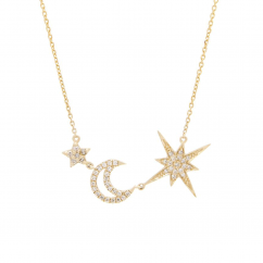 14k Yellow Gold and Diamond Star and Moon Necklace