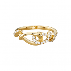 Love Knot 18k Yellow Gold and Diamond Ring