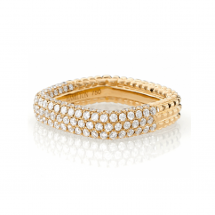 Mercer Three Row 18k Yellow Gold and Diamond Ring