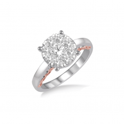 14k White and Rose Gold and 1.10CTW Diamond Engagement Ring