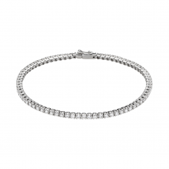 Classic Diamond and 18k Gold Straight Line Tennis Bracelet