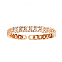 Classic 18k Rose Gold and Diamond Link Bracelet