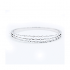 Wave 18k White Gold and Diamond 3 Row Bracelet
