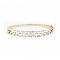 Wave 18k Yellow Gold and Diamond 3 Row Bracelet