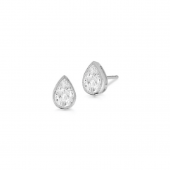 18k Gold and Pear Shape .50tw Studs