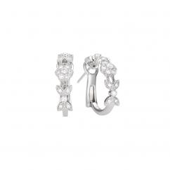 Heritage 18k White Gold and Diamond Huggie Earrings