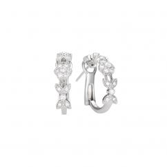 Heritage 18k White Gold and Diamond Huggie Earrings