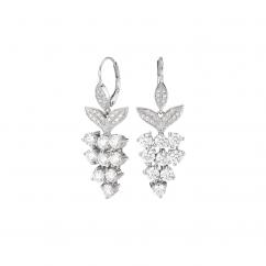 Platinum and Diamond Grape Cluster Earrings