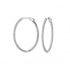 Classic 18k Gold and 1.50CT Diamond Hoops