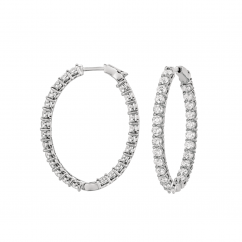 Classic 18k Gold and 5.25CT Diamond Hoops