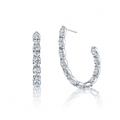 Classic 18k White Gold and 12.62CT Diamond In and Out Hoops