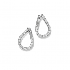 14k White Gold and 4.06CT Diamond In and Out Hoops