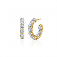 18k Yellow Gold and 5.56CT Diamond In and Out Hoops