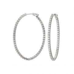 Classic 18k Gold and 5.04CT Diamond In and Out Hoops