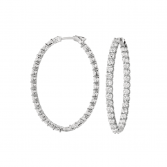 Classic 18k Gold and 12.71CT Diamond In and Out Hoops