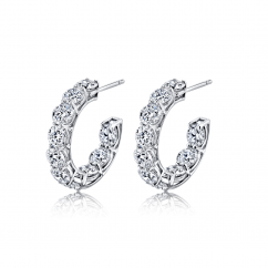 Classic 18k White Gold and 5.68CTW In and Out Hoops