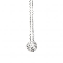 Lisette 18k Gold Halo and .25ct Cushion Diamond Pendant