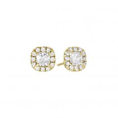 Lisette 18k Yellow Gold and Cushion Diamond Single Halo Earrings