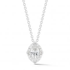 Lisette 18k White Gold and Oval Diamond Pendant
