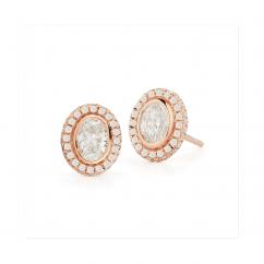 Lisette 18k Rose Gold and Oval Diamond Earrings