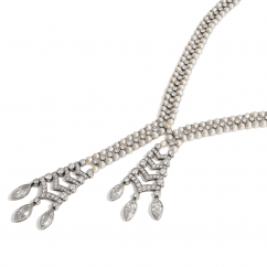 Private Reserve Platinum Keshi Pearl and Diamond Necklace