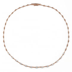 Wave 18k Rose Gold and Diamond Collar Necklace