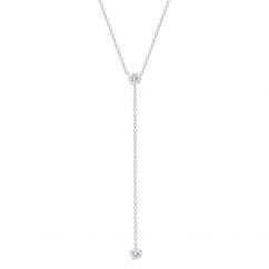 Darling 18k White Gold and Diamond Lariat Necklace