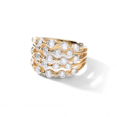 Wave 18k Gold and Diamond Five Row Ring